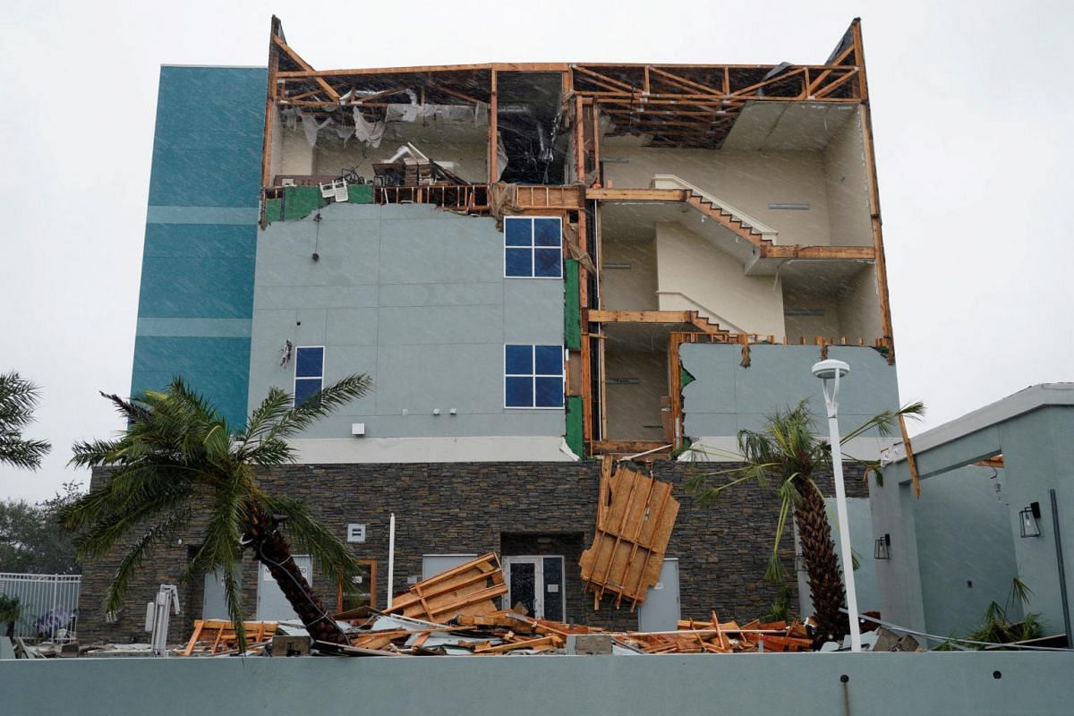 The end wall of the Fairfield Inn is seen partially missing after Hurricane Harvey struck in Rockport, on Aug 26, 2017.