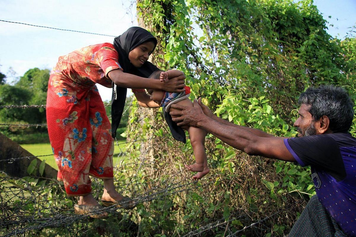 A Rohingya man passes a child through a barbed wire border fence near Maungdaw.