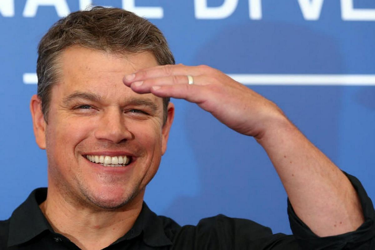 Actor Matt Damon gestures as he poses during a photocall for the movie   Downsizing at the 74th Venice Film Festival in Venice, Italy on Aug 30, 2017.