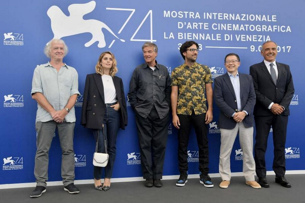 Members of the jury for the Luigi de Laurentiis Venice award for a debut film (from left) British writer Geoff Andrew, Italian actress Greta Scarano, French firector Benoit Jacquot, Greek director Yorgos Zois, Albert Lee and Venice Film Festival Dire