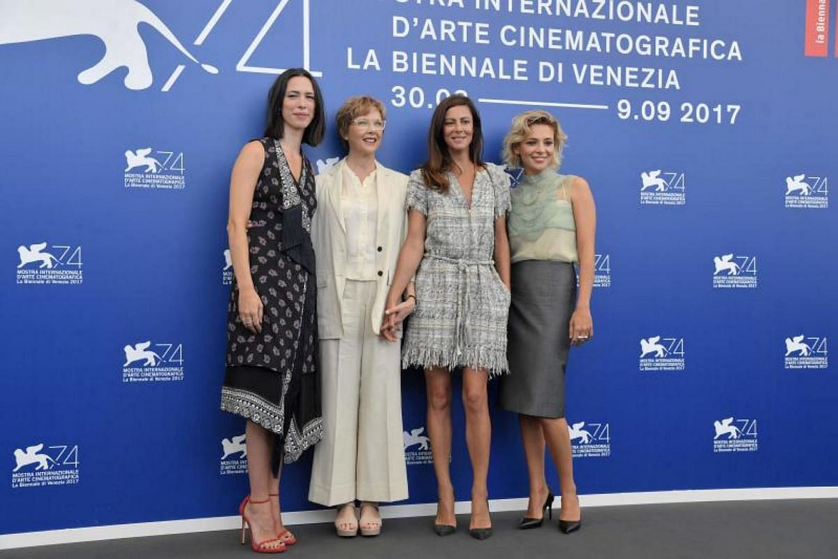 From left : actress Rebecca Hall, actress and president of the jury section Annette Bening, French actress Anna Mouglalis and Italian actress Jasmine Trinca pose during a photocall of the jury section Annete Bening of the 74th Venice Film Festival on