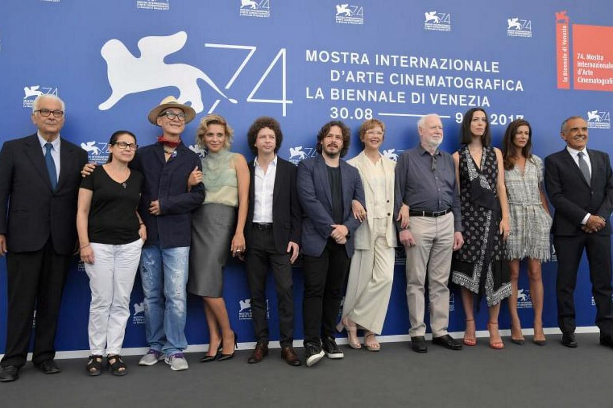 From left : Venice Biennale President Paolo Baratta, Hungarian director Ildiko Enyedi, director Yonfan, Italian actress Jasmine Trinca, Mexican director Michel Franco, British director Edgar Wright, actress and president of the jury section Annette B