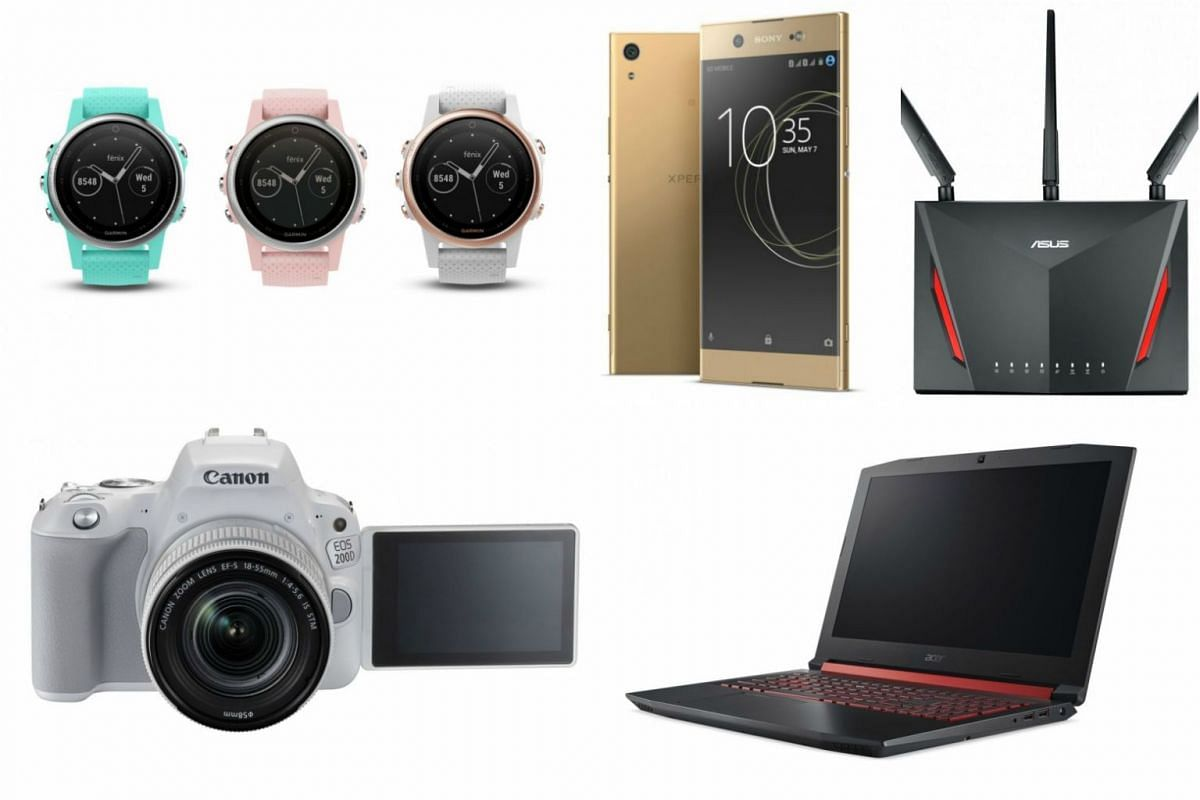 (Clockwise from top left) Garmin Fenix 5S, Sony XA1 Ultra, Asus RT-AC86U, Acer Nitro 5 and the Canon EOS 200D Kit will all be available at Comex 2017 at great prices.
