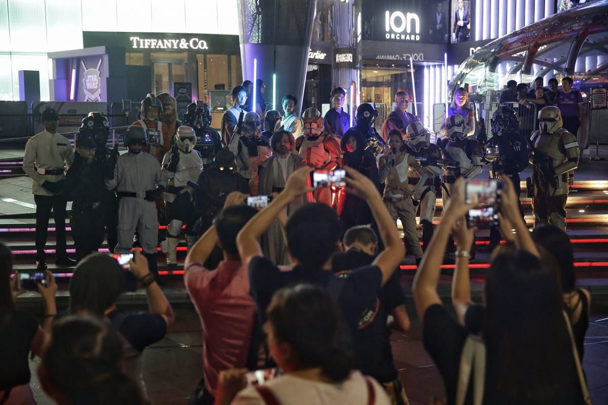 Star Wars cosplayers gathering outside ION Orchard for a group shot on Aug 31, 2017.