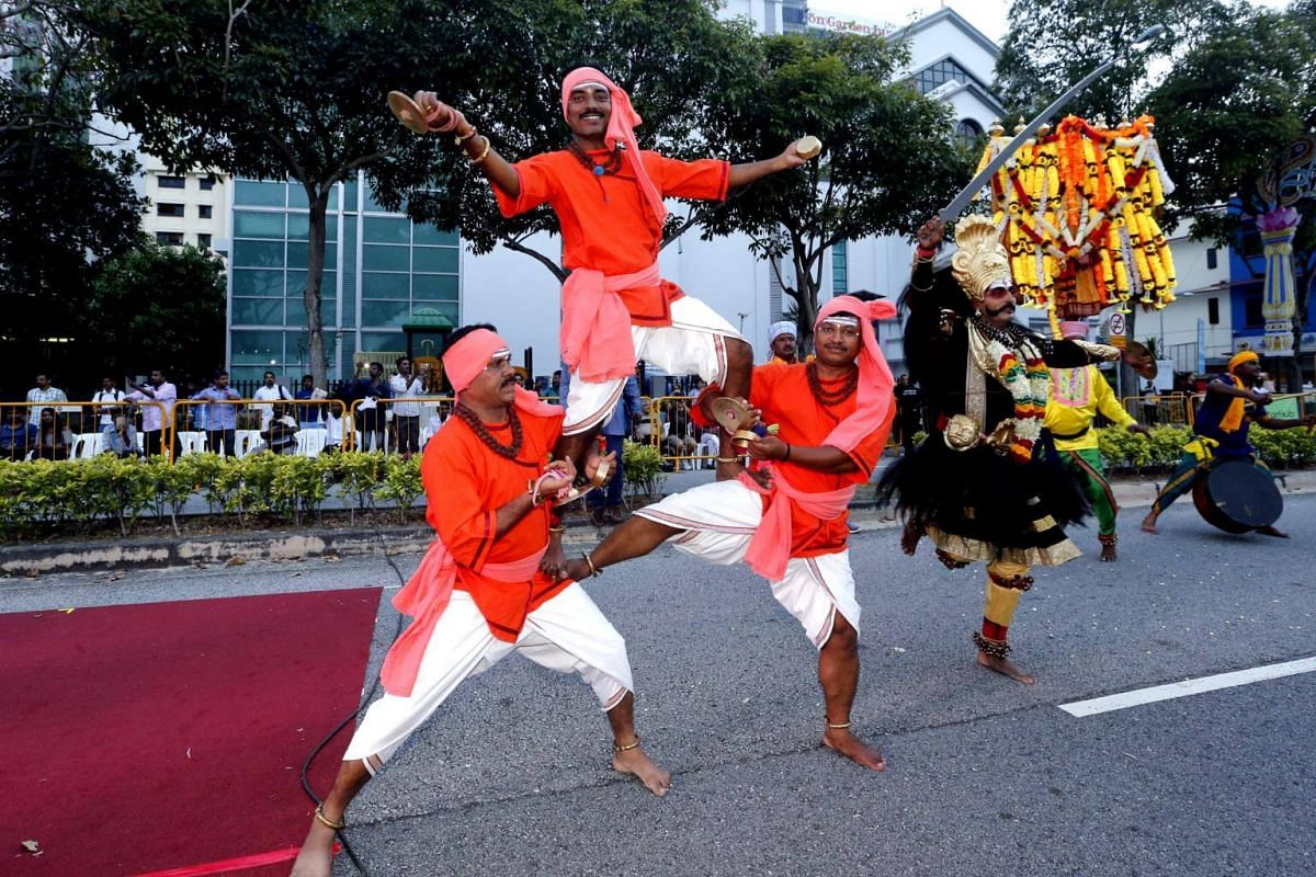 Dancers from the Kannada Sangha dance group perform at the UTSAV Street Parade 2017.