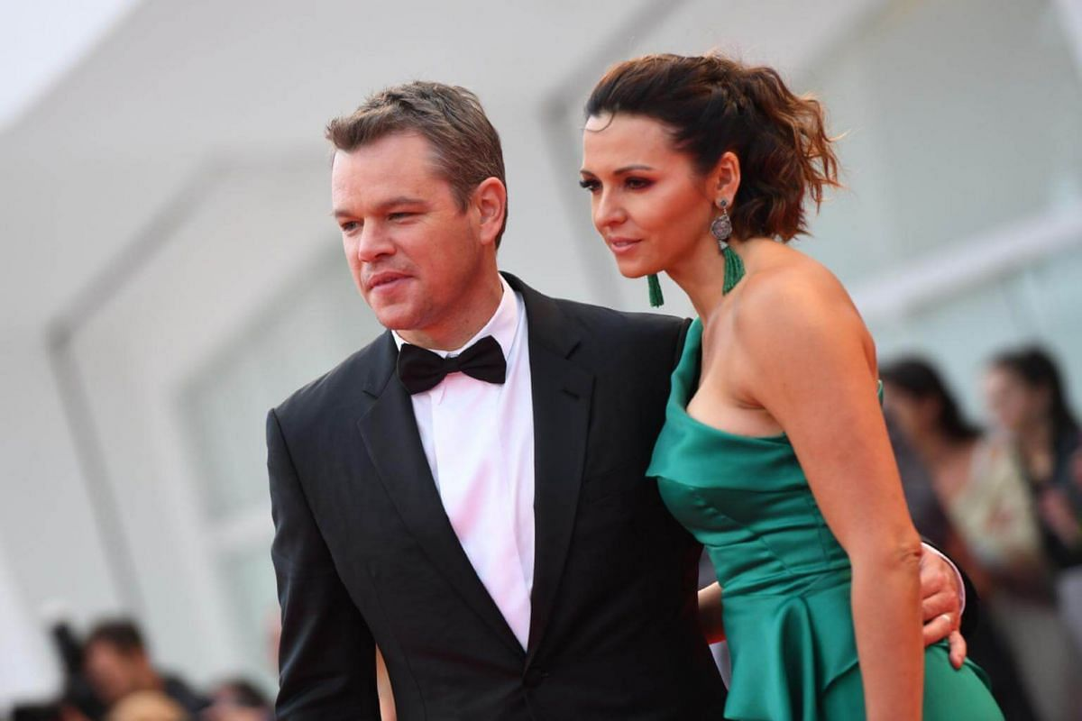 Actor Matt Damon and his wife Luciana attending the premiere of Suburbicon in Venice on Sept 2, 2017.