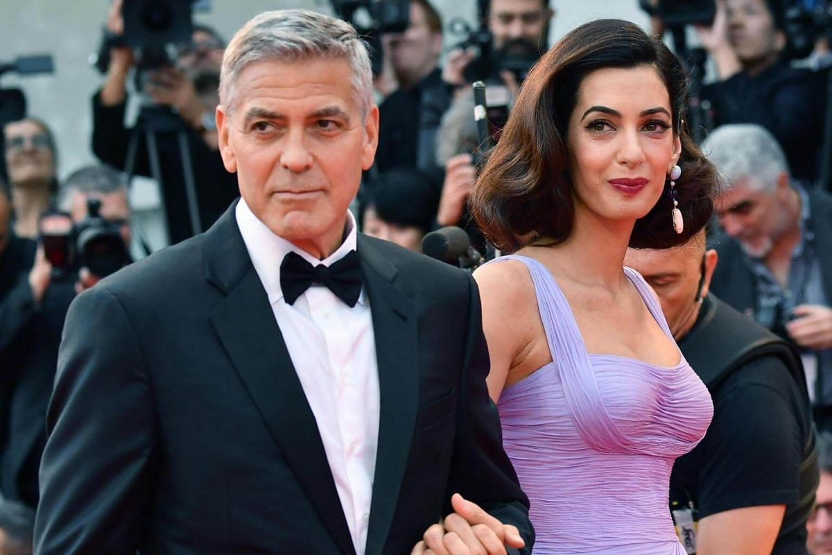 Actress George Clooney and his wife Amal arriving for the premiere of Suburbicon on Sept 2, 2017.