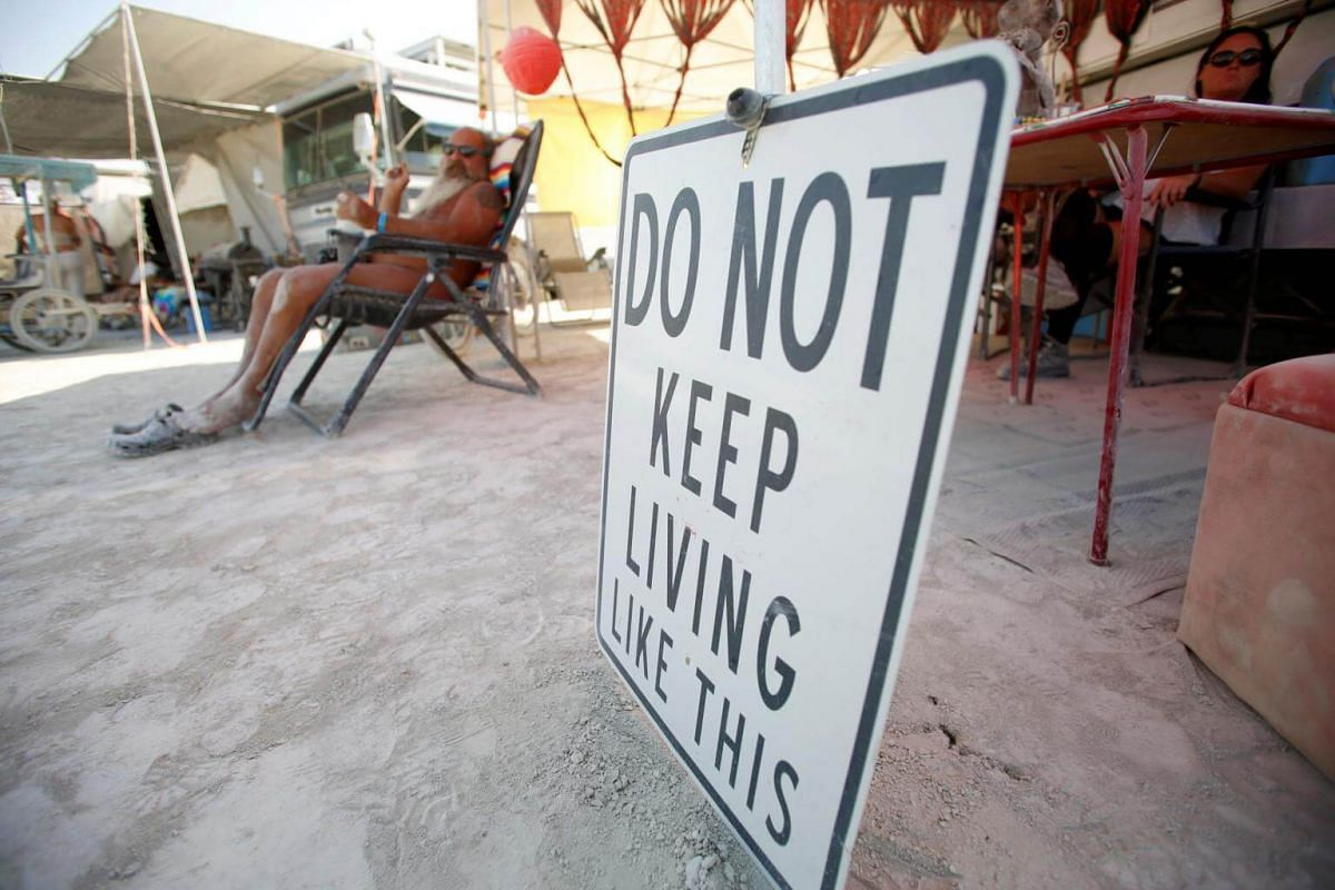 A sign at a participants' camp. Approximately 70,000 people from all over the world gathered on Sept 2, 2017 for the Burning Man festival.