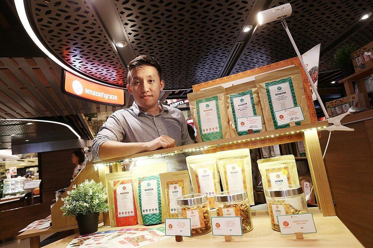 Mr Hayden Leow, director of Amazin' Graze, at his store in Raffles City Shopping Centre.