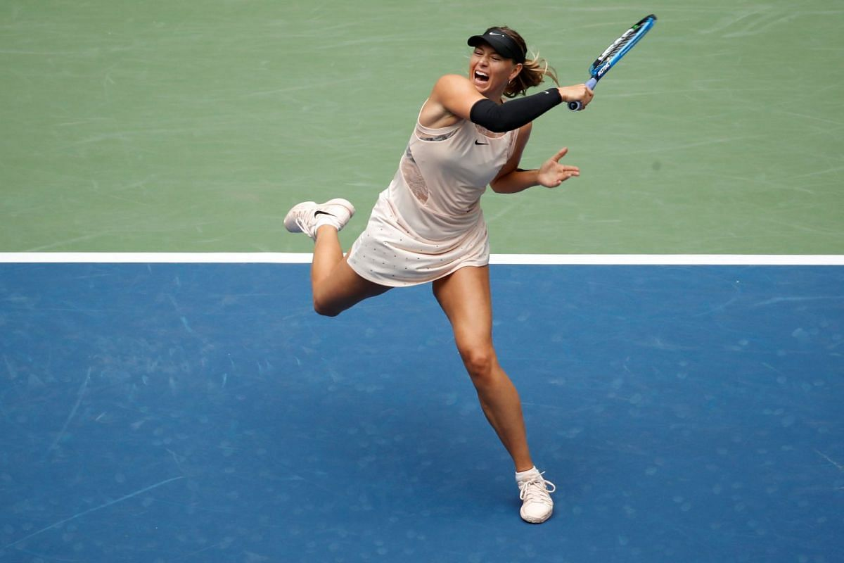 Maria Sharapova of Russia in action against Anastasija Sevastova of Latvia during their fourth round US Open tennis match in New York, U.S., on September 3, 2017. PHOTO: REUTERS