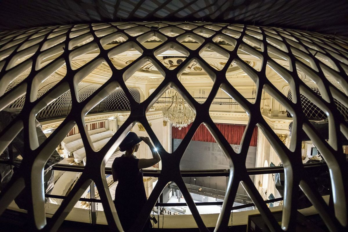 A photo released on Sept 3. 2017 shows a ceramic net that evenly distributes sound above the Staatsoper opera house in Berlin, Aug. 30, 2017. After seven years of construction, the Staatsoper is finally preparing to reopen its doors on the historic B