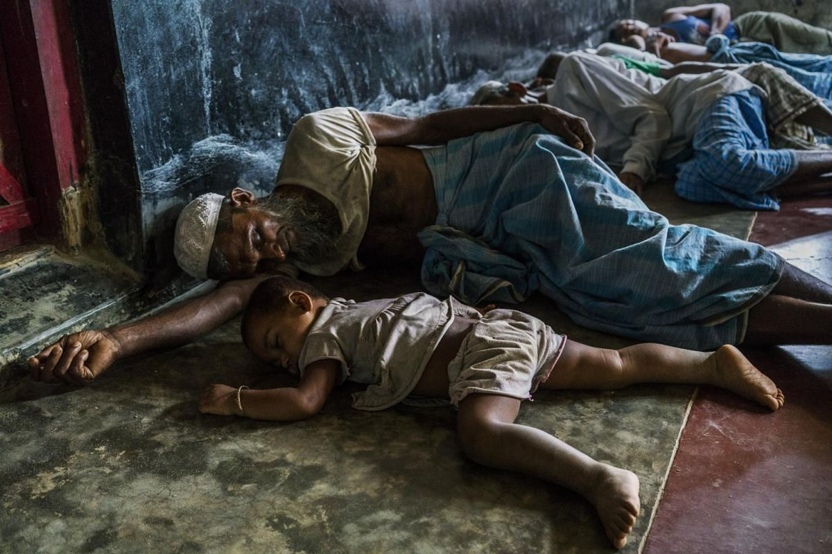 Rohingya refugees from Myanmar resting in a mosque in the overflowing Kutupalong Refugee Camp in Ukhia, Bangladesh, on Sept 2, 2017.