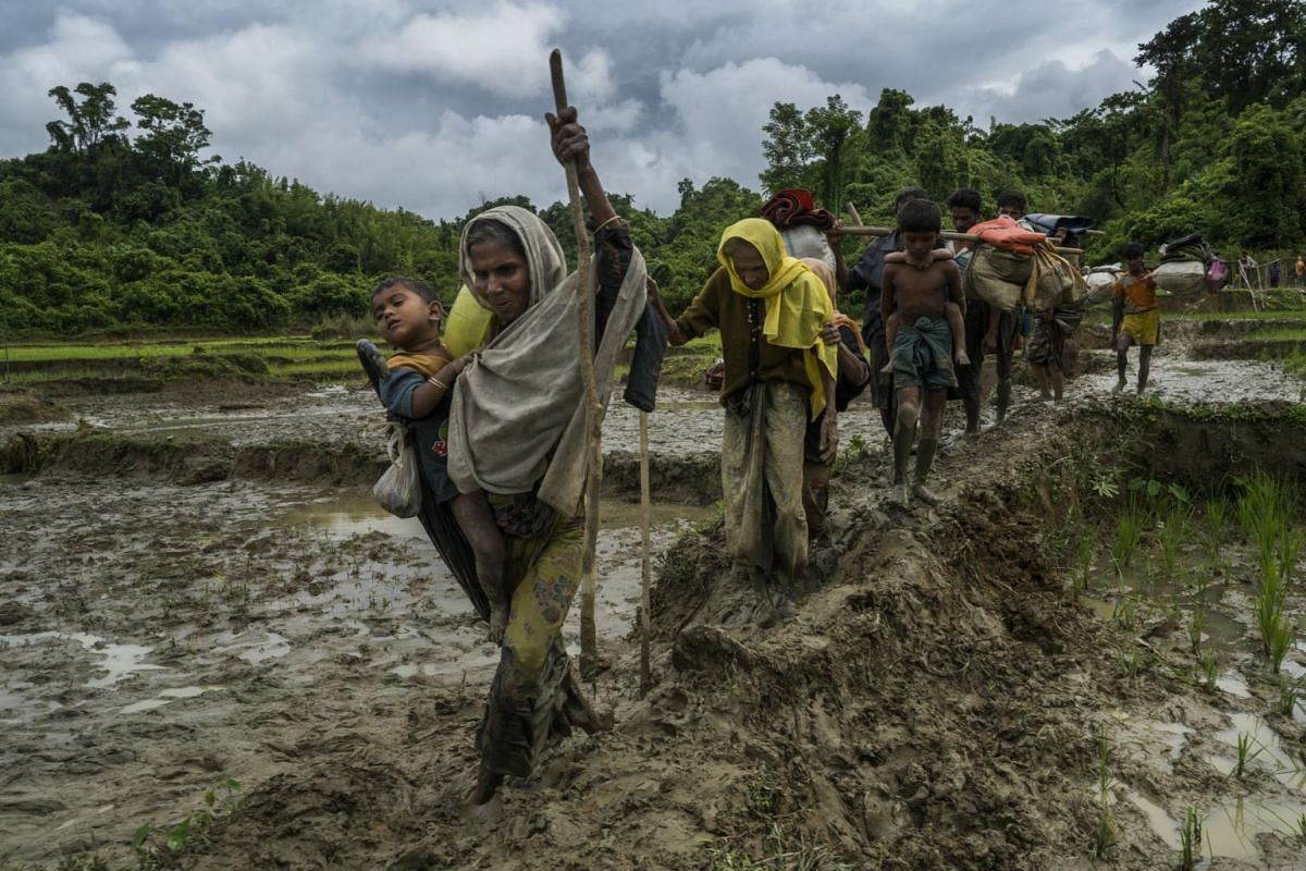Rohingya refugees from Myanmar crossing the border into Amtoli, Bangladesh, after days of walking to escape violence in their villages, on Aug 31, 2017.