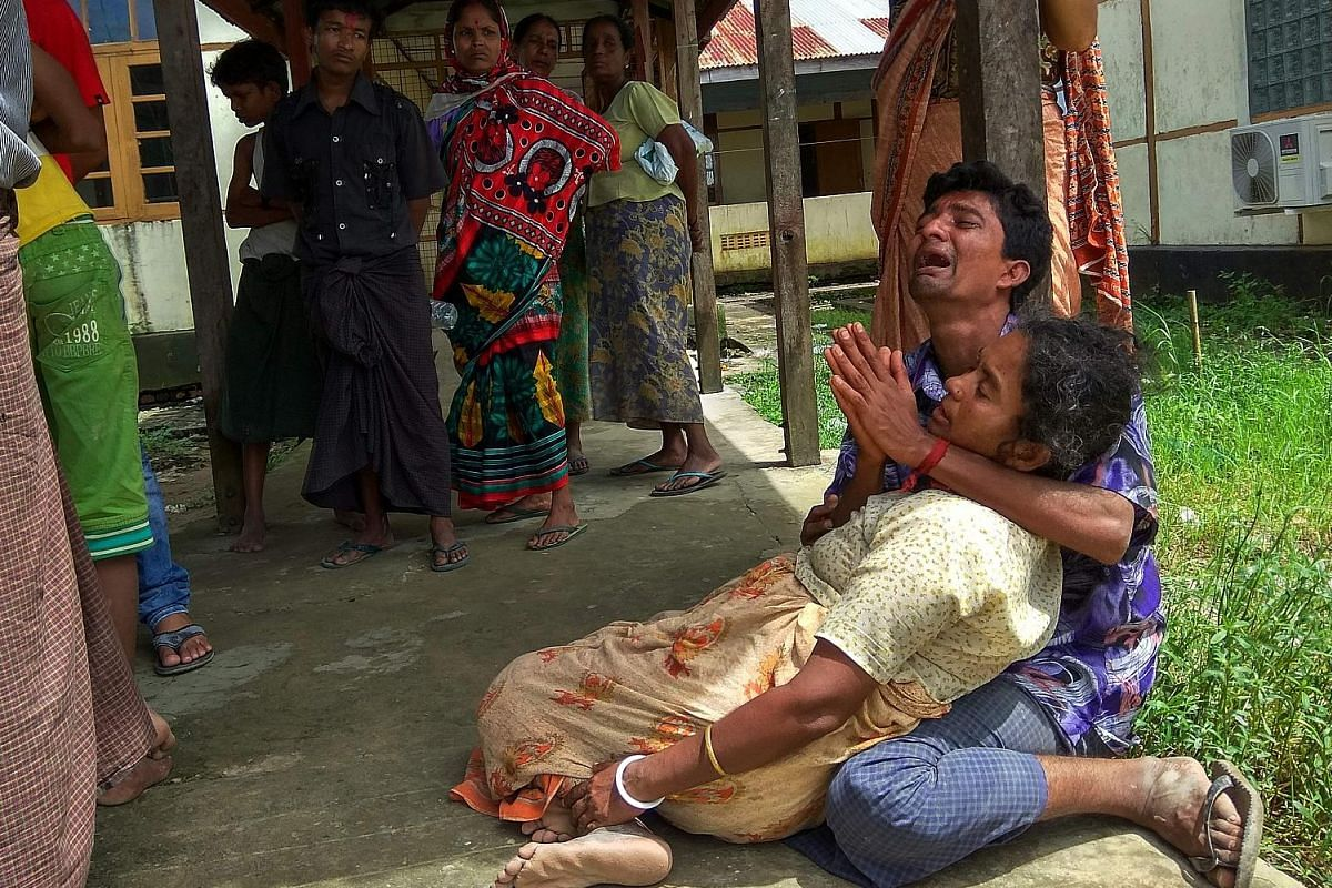 A man mourning a family member believed to have been killed by Rohingya militants in Maungdaw, Rakhine, last month.