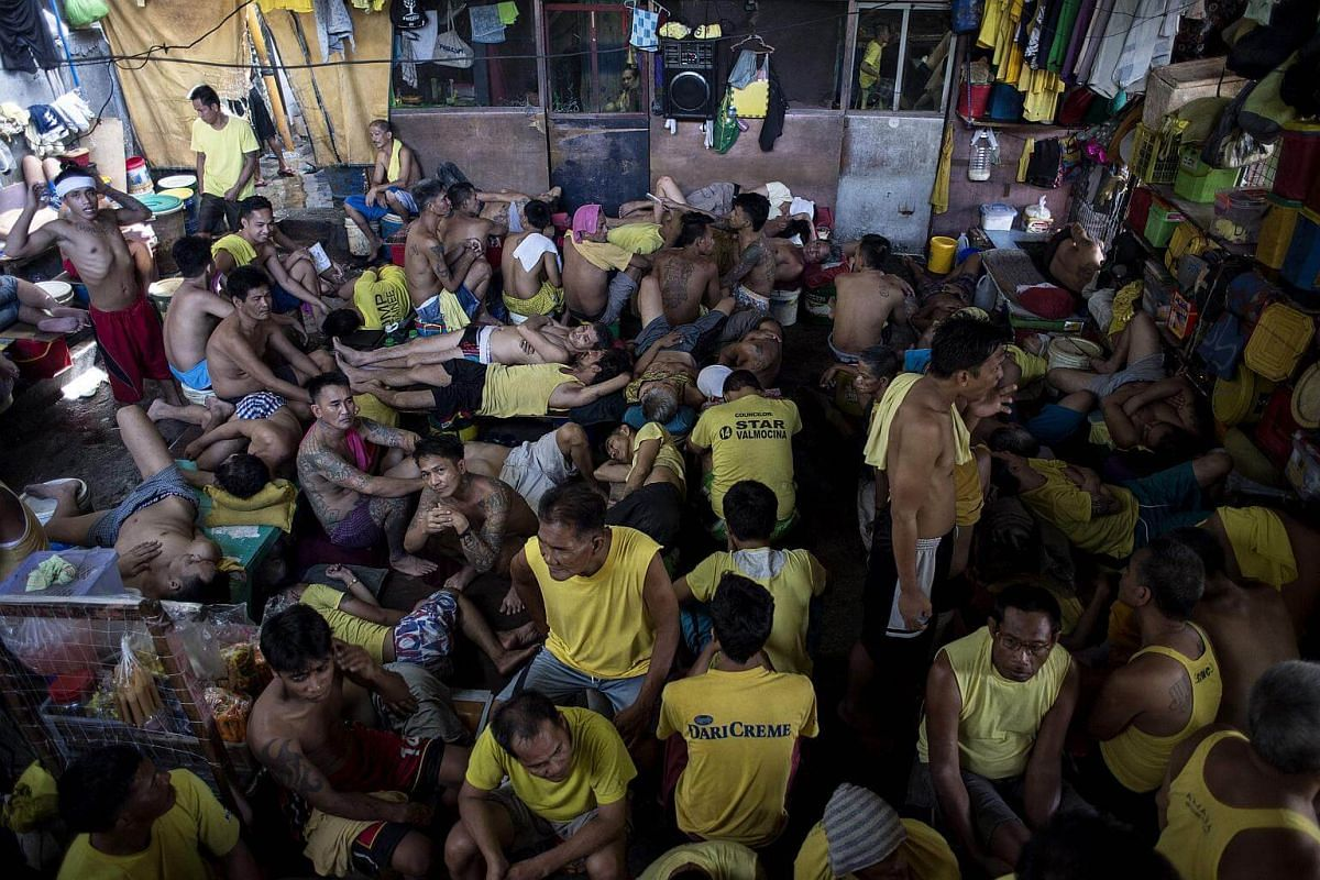 Inmates inside the Quezon City Jail in Manila on July 11, 2017.