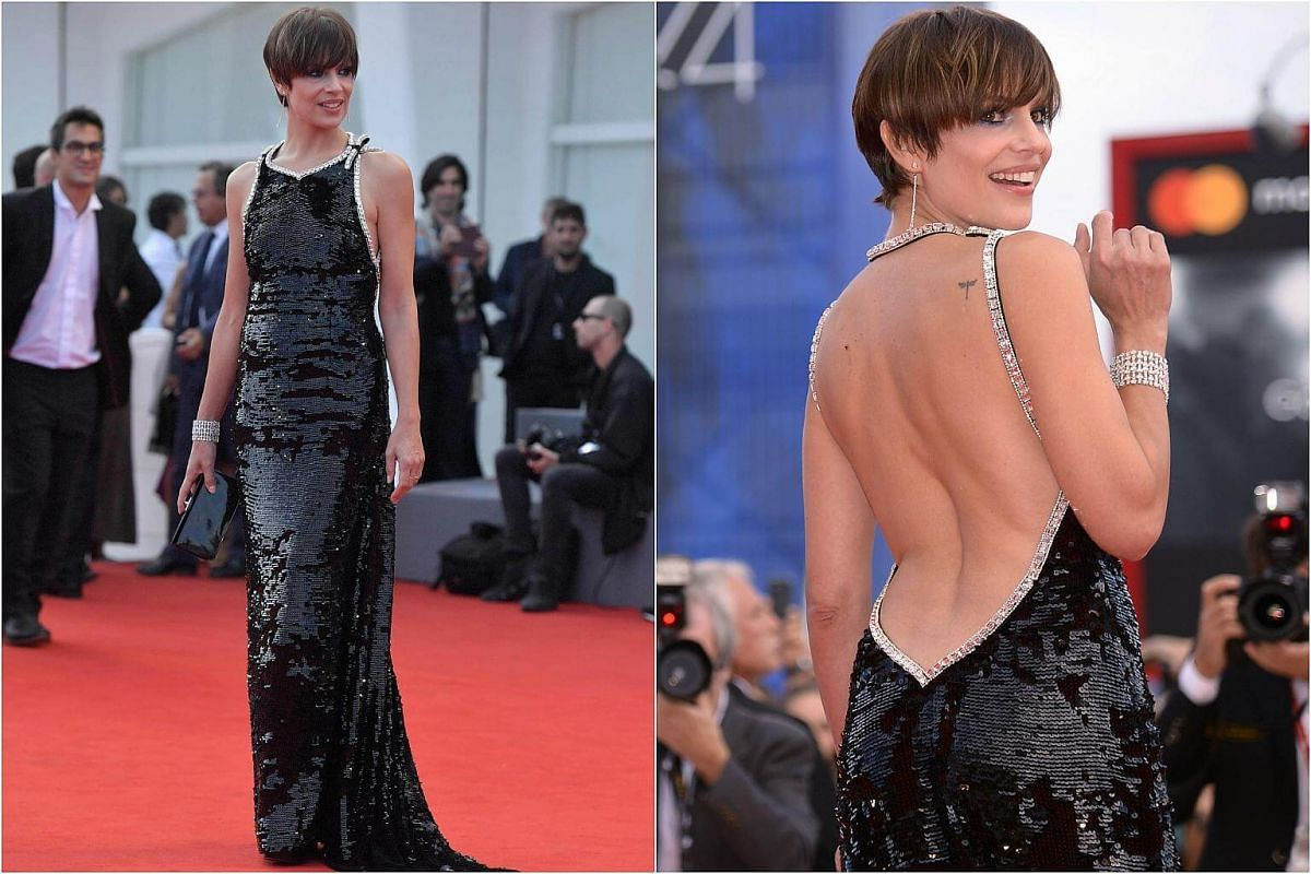 Actress Micaela Ramazzoti attends the premiere of the movie Una Famiglia presented in competition at the 74th Venice Film Festival  at Venice Lido, on Sept 4, 2017.