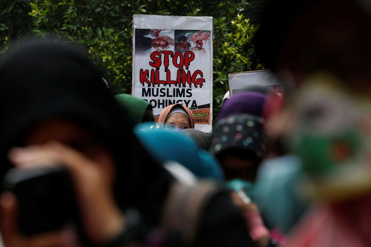 Muslim women activists at a rally in support of the Rohingya minority outside the Myanmar embassy in Jakarta, Indonesia, yesterday.