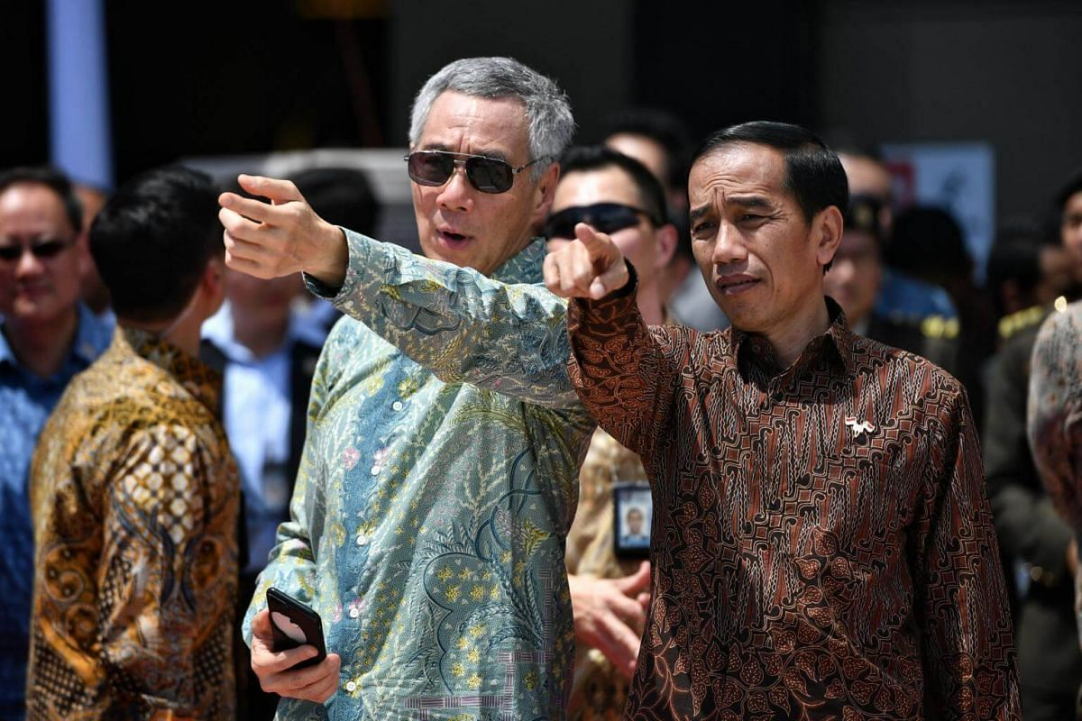 Prime Minister Lee Hsien Loong and Indonesia President Joko Widodo were at Marina Bay Cruise Centre to witness the fly-past.