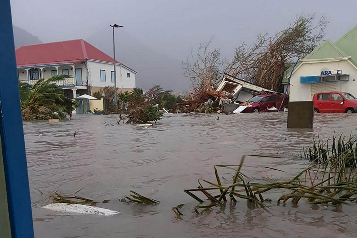 A flooded street on the French overseas island of Saint-Martin, after high winds from Hurricane Irma hit the island on Sept 6, 2017.