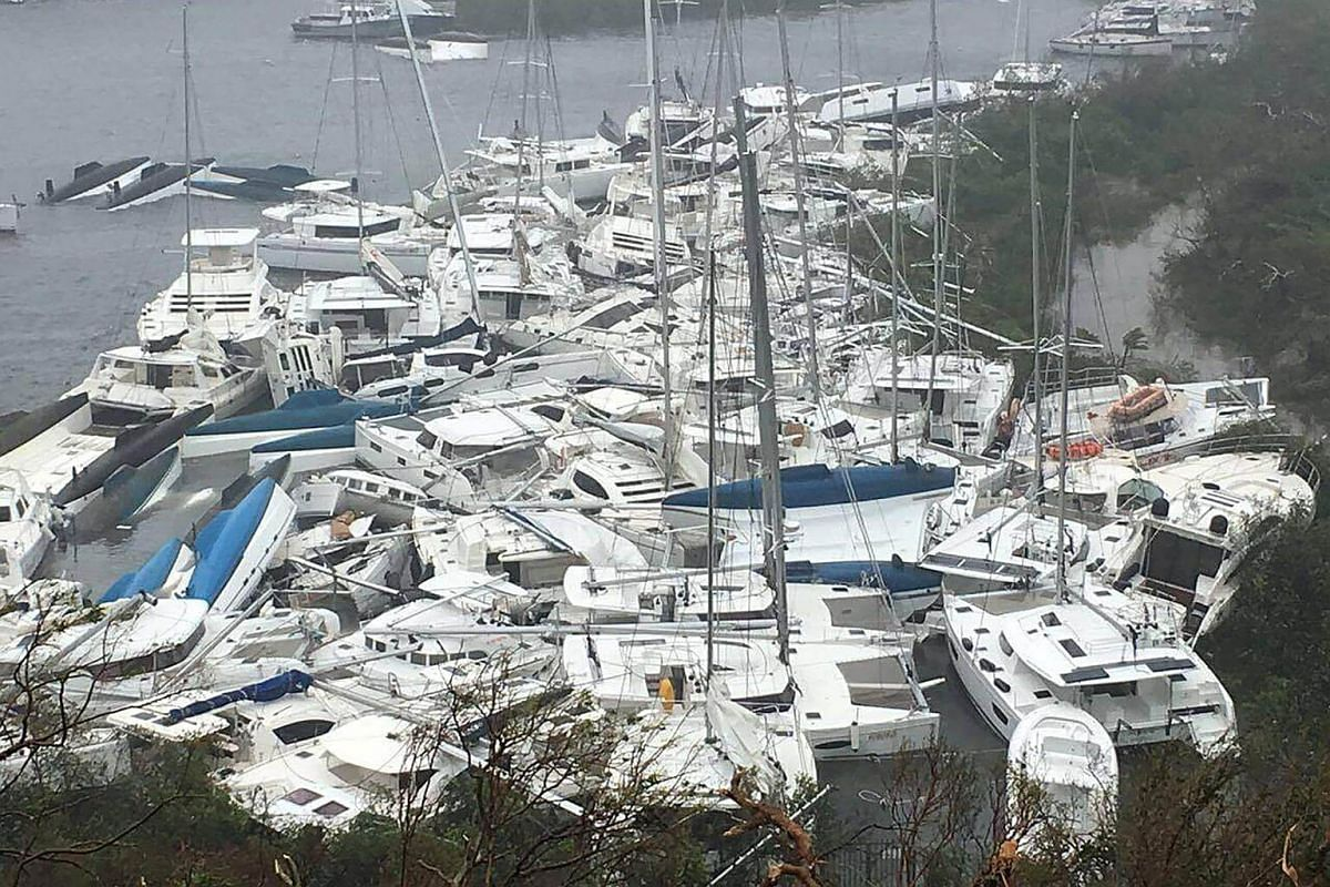 Pleasure craft lie crammed against the shore in Paraquita Bay as the eye of Hurricane Irma passed Tortola, on Sept 6, 2017.