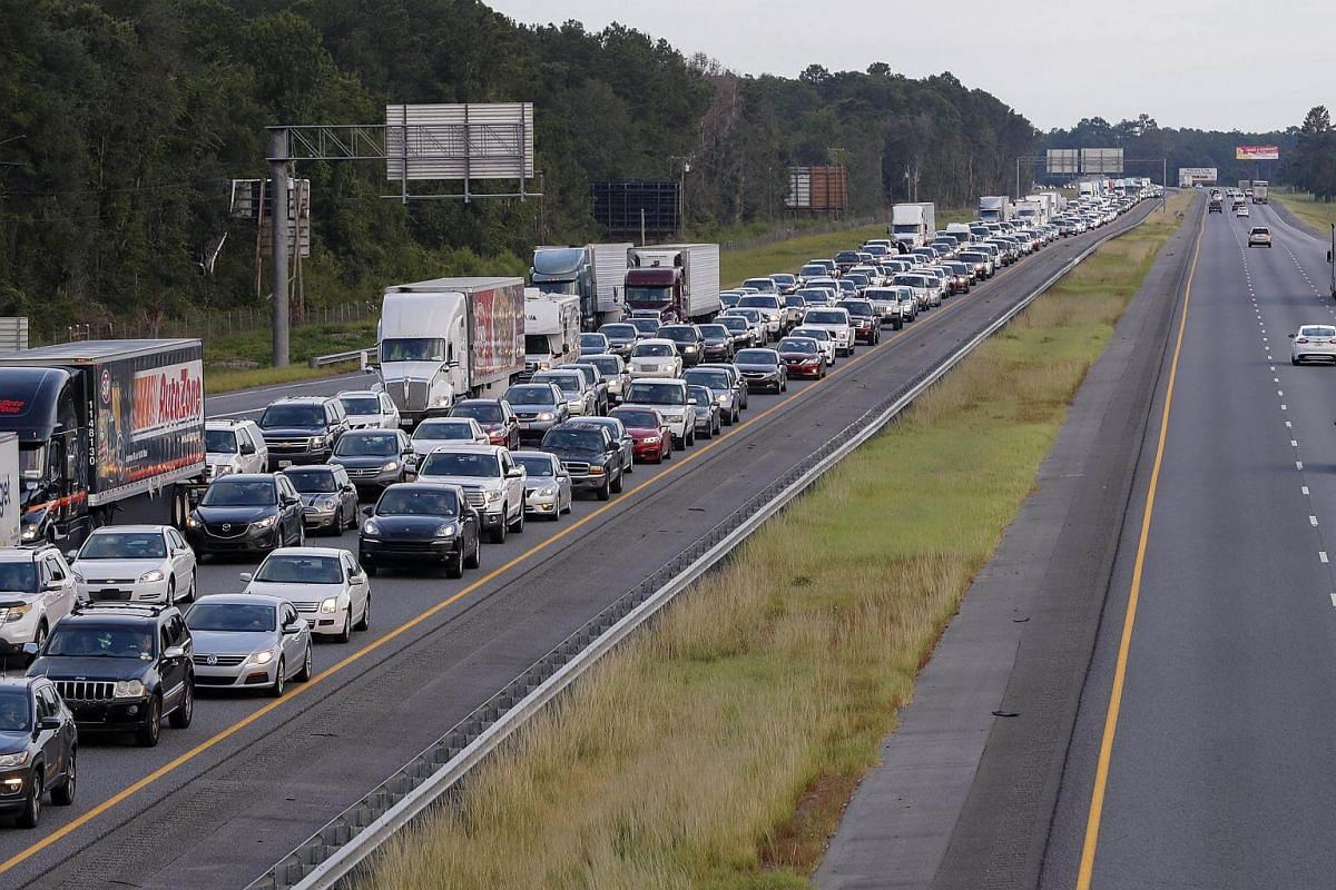 Hurricane Irma evacuating traffic streaming out of Florida creeps along northbound Interstate 75 after a vehicle accident in Lake Park, Georgia, on Sept 6, 2017.