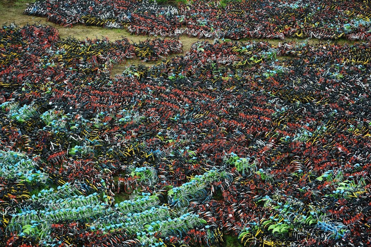 Bicycles from various bike-sharing services are seen at an urban village in Hangzhou, Zhejiang province, China on Sept 7, 2017. PHOTO: REUTERS