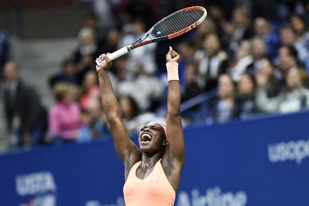 Sloane Stephens of the US celebrates defeating compatriot Venus Williams in their 2017 US Open Women's Singles Semifinals match at the USTA Billie Jean King National Tennis Center in New York on Sept 7, 2017. PHOTO: AFP