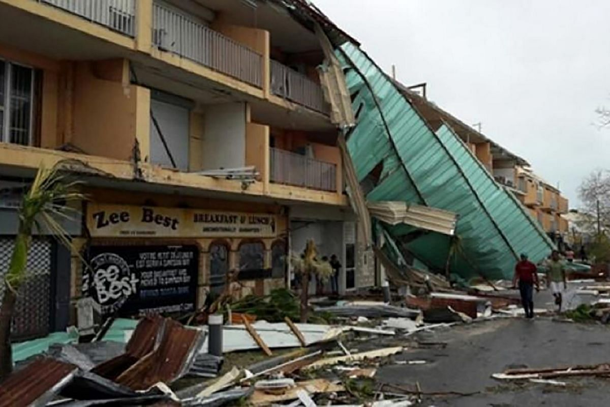 Damage from Hurricane Irma on the French overseas island of Saint-Martin on Sept 7, 2017.