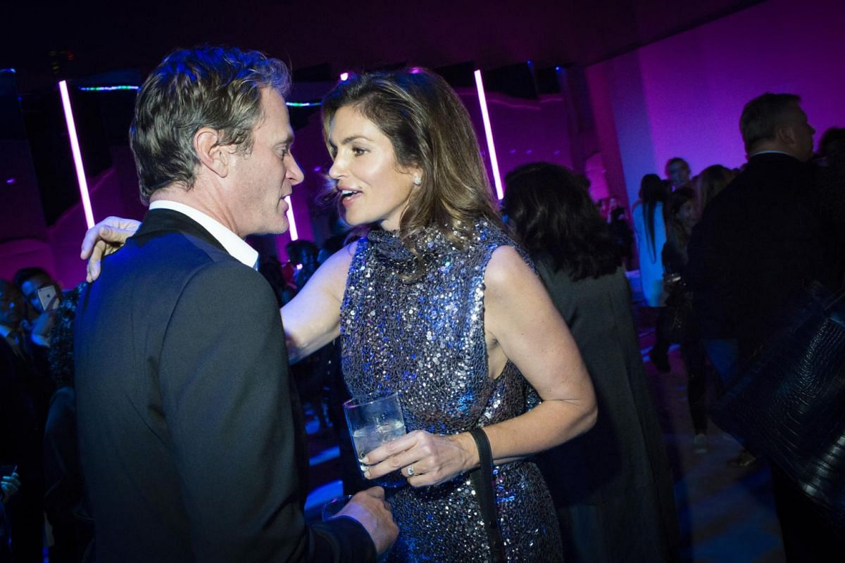 Rande Gerber and Cindy Crawford at the Tom Ford after-party at the Park Avenue Armory during New York Fashion Week, on Sept 6, 2017.