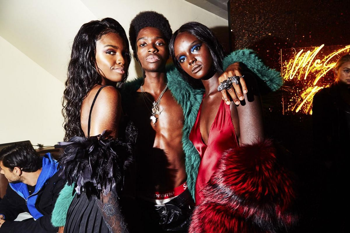 Leomie Anderson (left) and Duckie Thot (right) at makeup artist Pat McGrath's vogue ball at China Chalet during New York Fashion Week, on Sept 6, 2017.