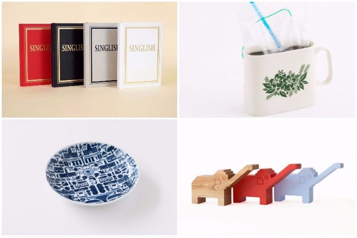 Clockwise from top left: Singlish Notebook, Kopi Bag Mug, Playground Series by Hinika and One Singapore Porcelain Plate.
