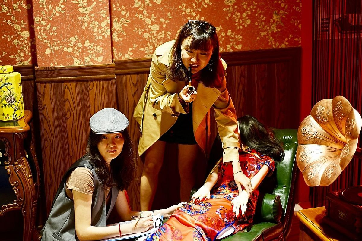 Customers get to dress up in period outfits to play roles such as detectives in Shanghai 1943.