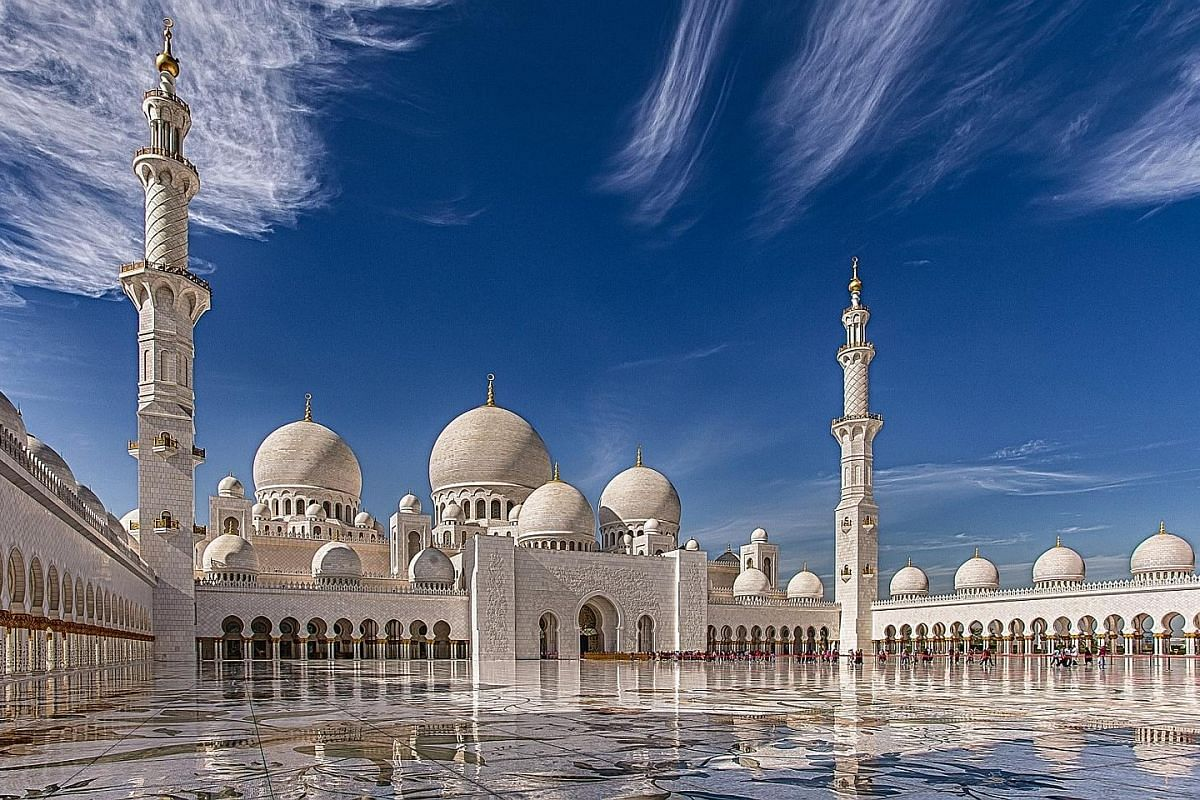 The Sheikh Zayed Grand Mosque in Abu Dhabi, United Arab Emirates, can accommodate more than 40,000 people.
