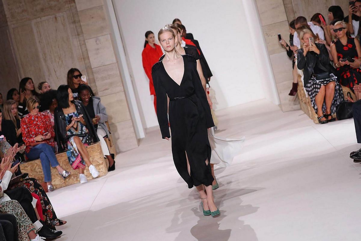 Models walk the runway for Victoria Beckham fashion show during New York Fashion Week: The Shows on Sept 10, 2017.