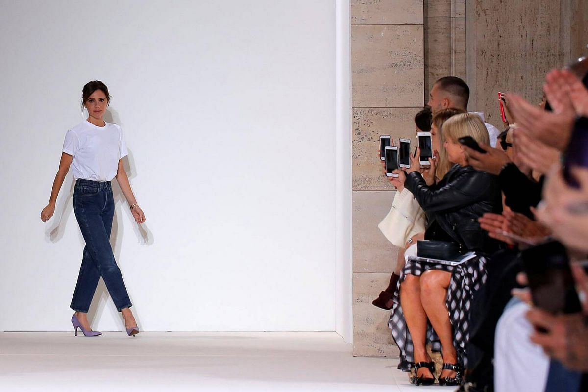 Victoria Beckham acknowledges attendees after showing her Spring/Summer 2018 collection presentation at New York Fashion Week in Manhattan, on Sept 10, 2017.