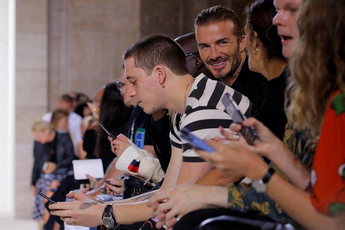 Brooklyn Beckham and David Beckham attending the Victoria Beckham Spring/Summer 2018 collection presentation at New York Fashion Week in on Sept 10, 2017.