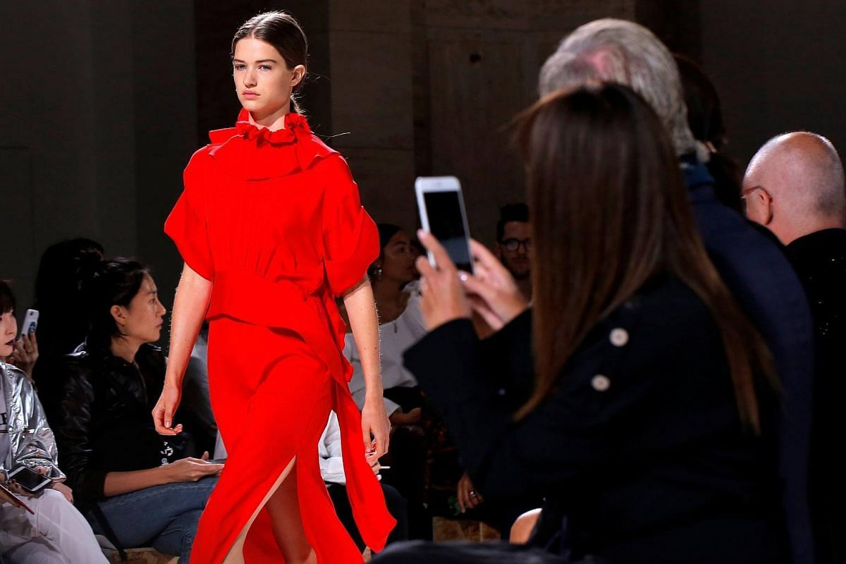 A model presents a creation from the Victoria Beckham Spring/Summer 2018 collection at New York Fashion Week in Manhattan, on Sept 10, 2017.