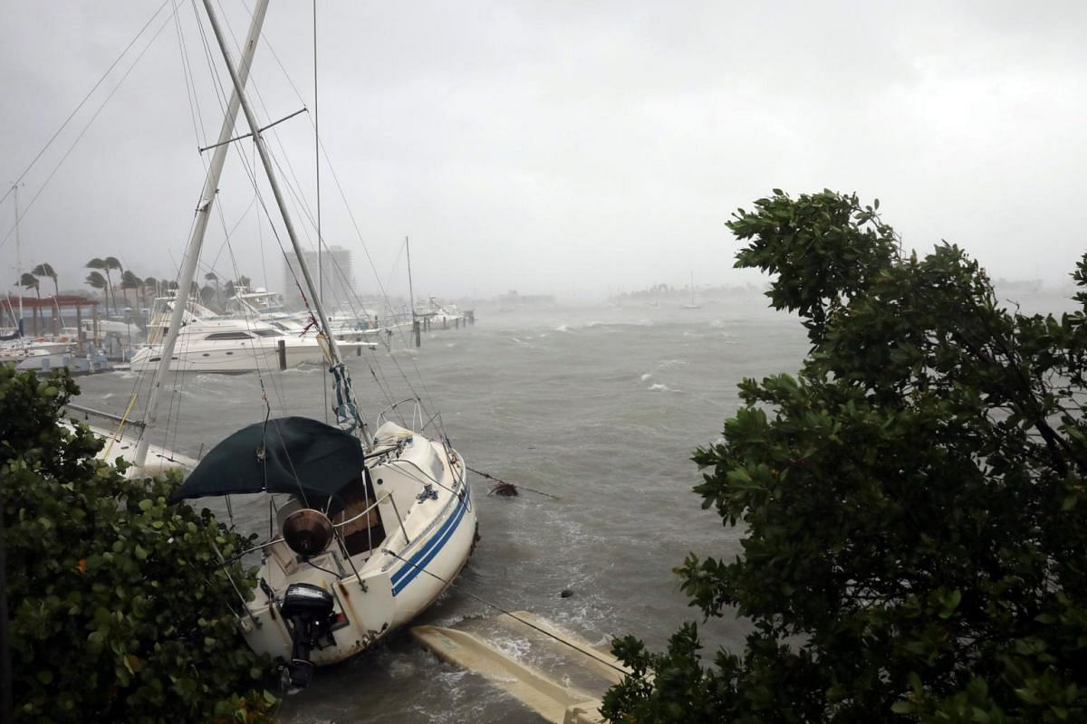 Boats at a marina in South Beach as Hurricane Irma arrives at south Florida, in Miami Beach, Florida, US on Sept 10, 2017.