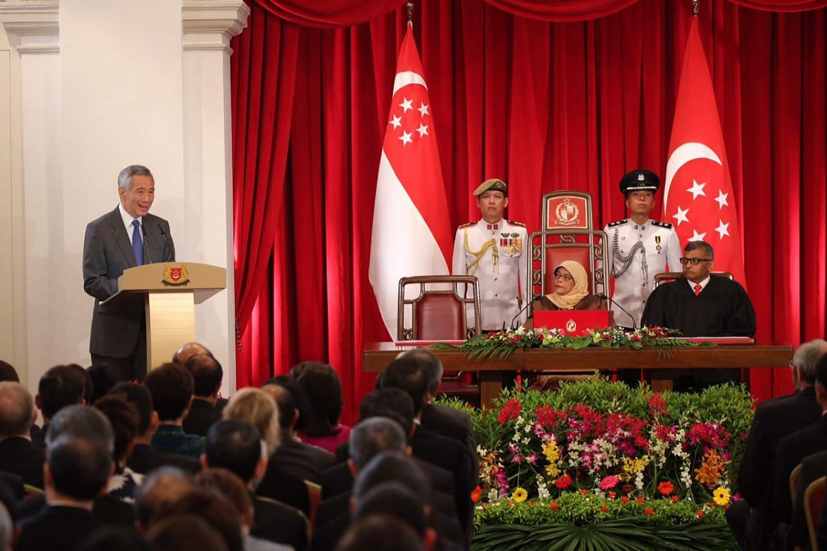 Prime Minister Lee Hsien Loong speaking at the inauguration ceremony of Madam Halimah Yacob as Singapore's eighth President, on Sept 14, 2017.