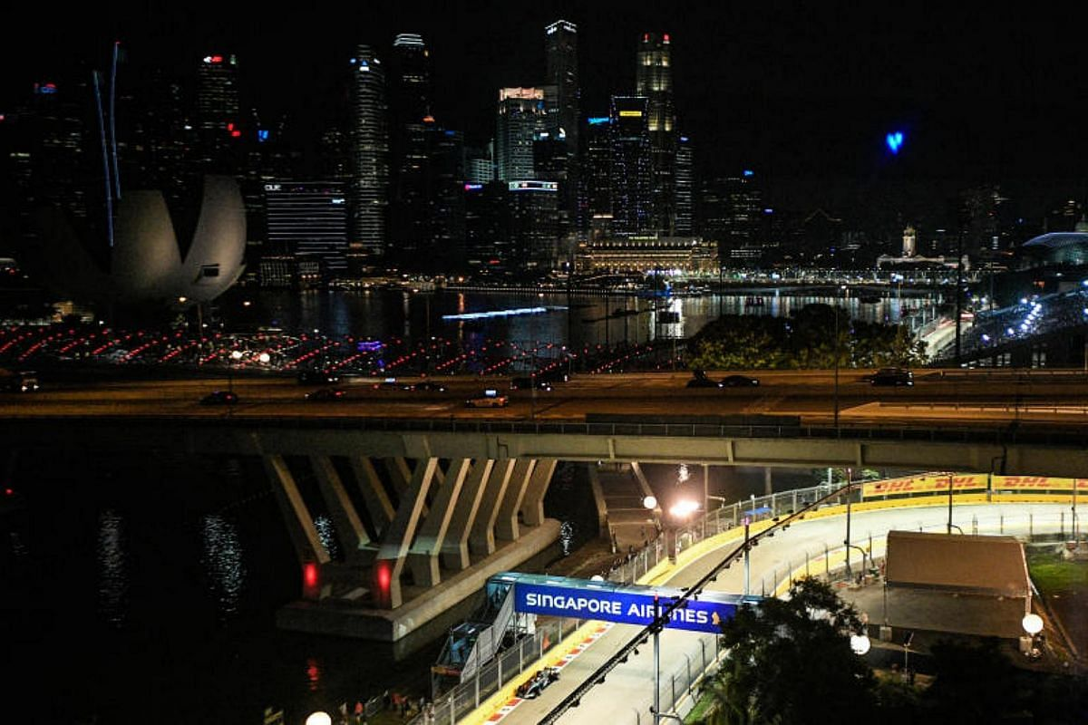 British Formula One driver Lewis Hamilton of Mercedes AMG passes turn 21 during the second practice session of the 2017 Formula One Singapore Airlines Singapore Grand Prix at the Marina Bay street circuit on Sept 15, 2017.