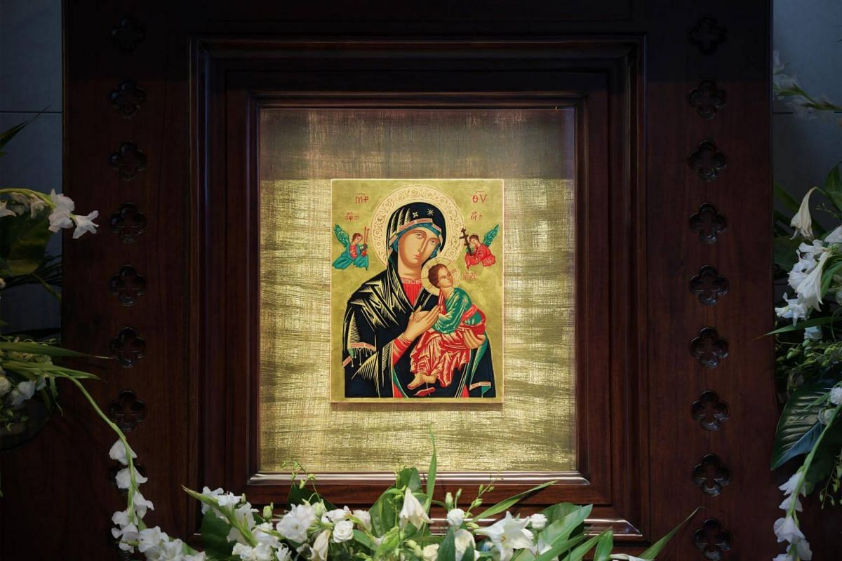 A new shrine to The Mother Of Perpetual Help was built out of solid mahogany from Indonesia, with a backdrop of Spanish gold leaf on which is mounted the icon.