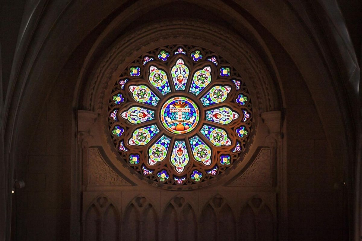 The central portion of the new stained glass rosette at the West End of the church features the seal of the The Congregation of the Most Holy Redeemer, commonly known as the Redemptorists, a worldwide congregation of the Catholic Church dedicated to