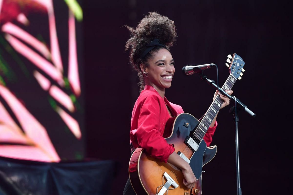 Singer Lianne La Havas performing on the Padang stage at the 2017 Formula One Singapore Grand Prix.