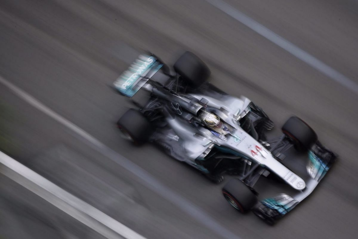 Mercedes AMG Petronas F1 Team's British driver Lewis Hamilton in action during the first practice session of the 2017 Formula One Singapore Airlines Singapore Grand Prix at the Marina Bay street circuit.