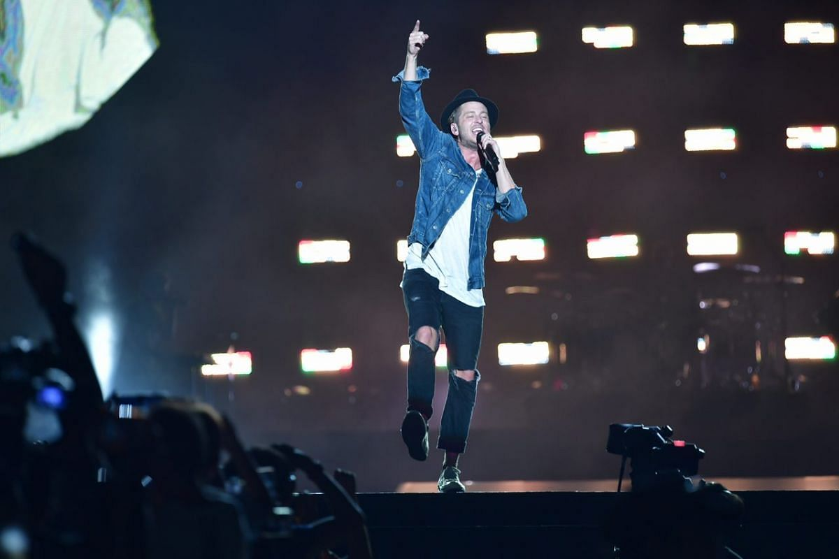 OneRepublic frontman Ryan Tedder performing on the Padang stage at the 2017 Formula One Singapore Grand Prix on Friday, Sept 15 2017.