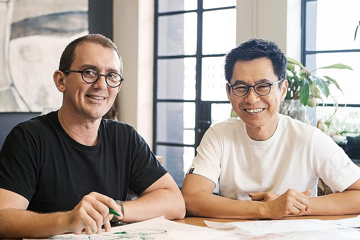 Singapore design company Industry+ showcased a collection of chairs, including from the Lulu collection (above) by home-grown firm Studio Juju, which is founded by Mr Timo Wong and Ms Priscilla Lui (both right). Japanese designer Keiji Takeuchi's Wim