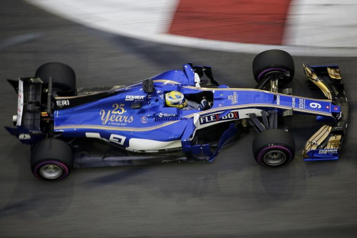 Sauber F1 Team driver Marcus Ericsson of Sweden negotiating Turn 9 during the third practice session of the 2017 Formula One Singapore Airlines Singapore Grand Prix at the Marina Bay street circuit, as seen from Swissotel The Stamford on Sept 16, 201