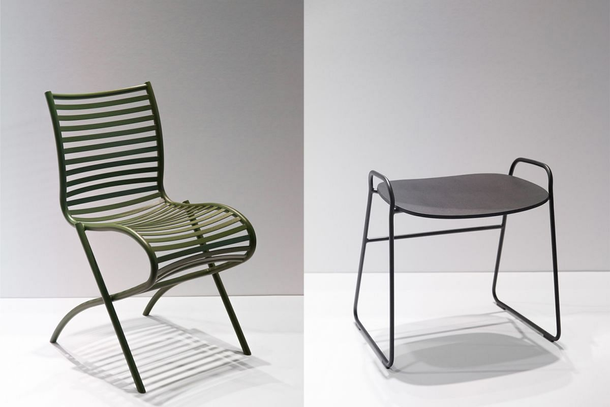 Singapore design company Industry+ showcased a collection of chairs, including from the Lulu collection (above left) by home-grown firm Studio Juju, which is founded by Mr Timo Wong and Ms Priscilla Lui. Japanese designer Keiji Takeuchi's Wimbledon