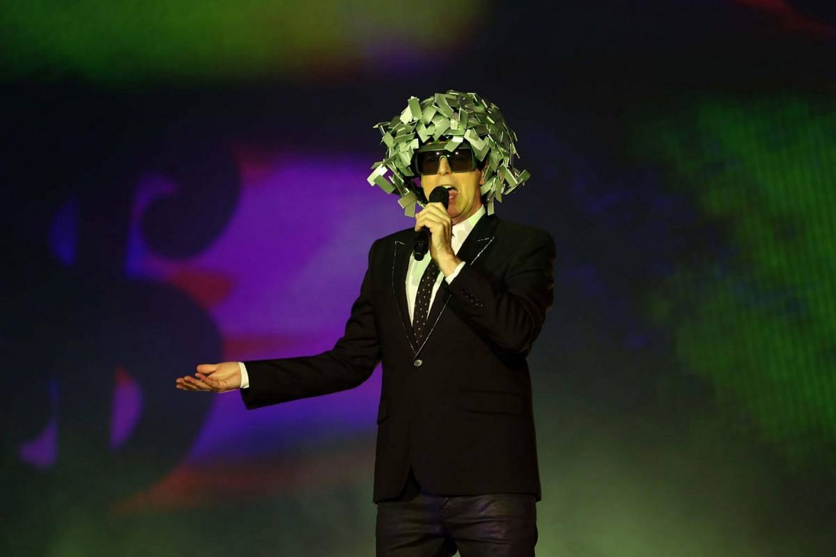 British musician Neil Tennant of the synthpop duo Pet Shop Boys performs on the Mundo stage during the first day of the Rock In Rio music festival in Rio de Janeiro, Brazil, on Sept 15, 2017.