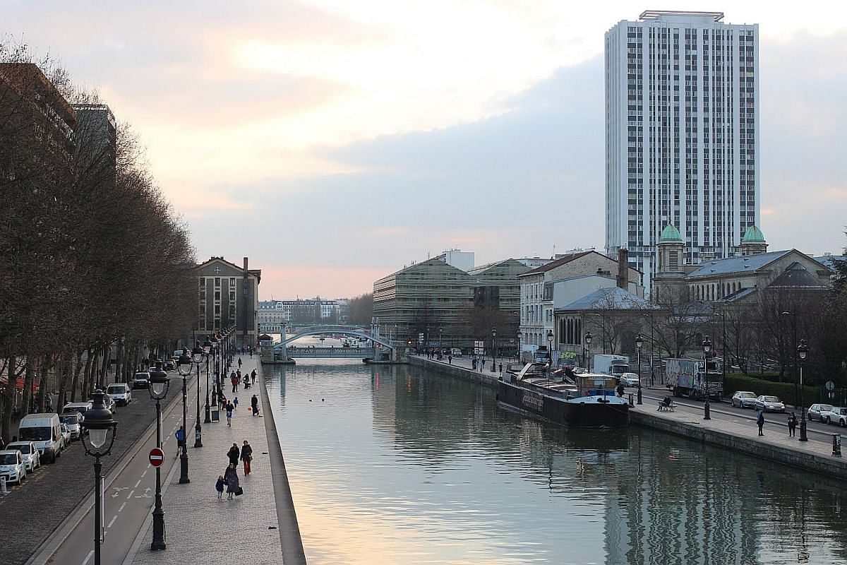 The last surviving vertical-lift bridge (above) in Paris has been functioning since 1885 and is at the junction of where Canal de l'Ourcq (right) meets the Bassin de la Villette. The Russian orthodox church, Paroisse Saint-Serge (above), has interior